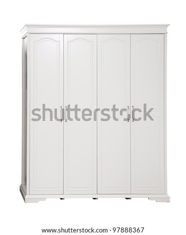 Four-section wardrobe isolated on white, with clipping path - stock photo