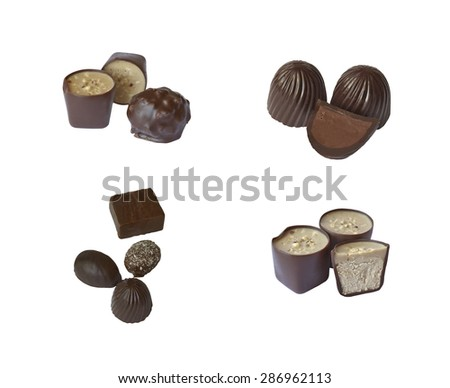Four sets of chocolate candies on isolated background - stock photo