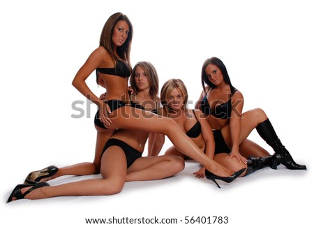 Four Sexy models in lingerie - stock photo