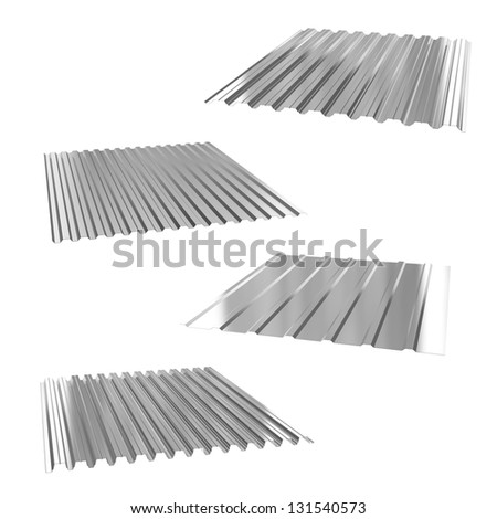 four sheets of stainless steel on a white - stock photo