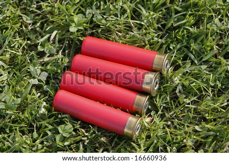 Four shooting cartridges on the grass - stock photo
