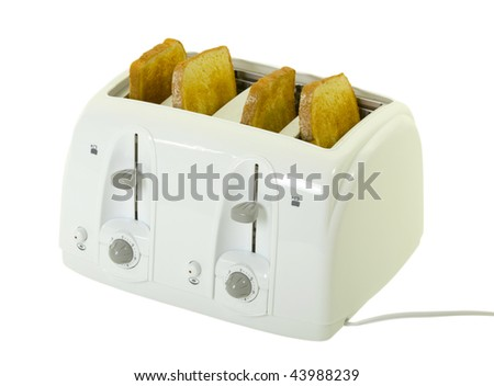 Four slice toaster with bred isolated on white background - stock photo