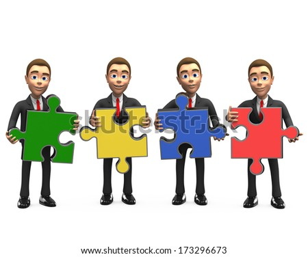 Four smiling businessman with puzzles  - stock photo