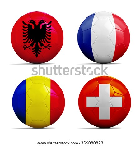 Four Soccer balls with group A team flags, Football Euro cup 2016.  - stock photo