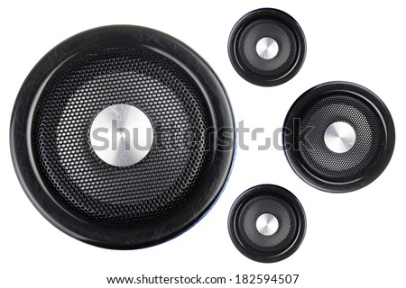 Four speakers isolated on a white background - stock photo