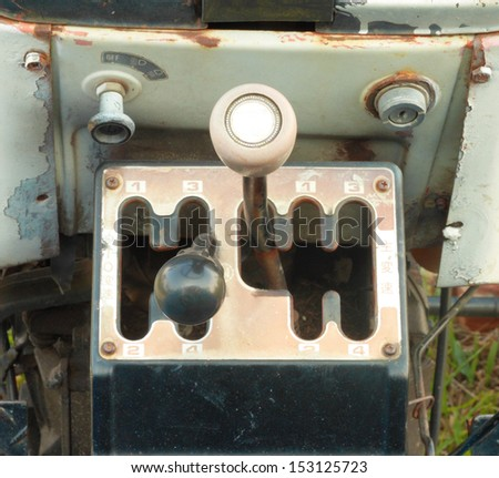 Four Speed Tractor Gearshift Knob - stock photo