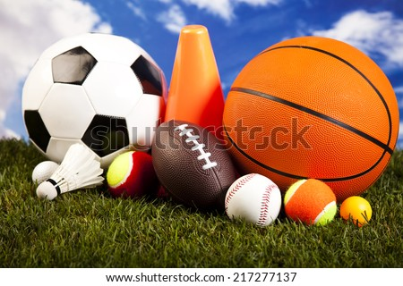 Four Sport, a lot of balls and stuff  - stock photo