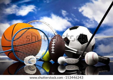 Four Sports, a lot of balls and stuff  - stock photo