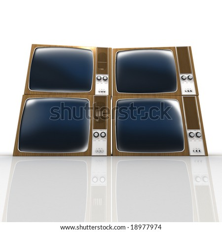 Four stacked vintage televisions against a white background - stock photo