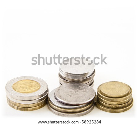 Four stacks of coins - stock photo