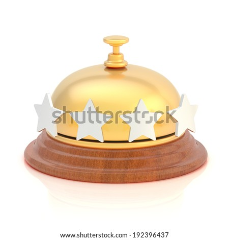 Four star hotel's reception golden bell over the white surface with reflections - stock photo