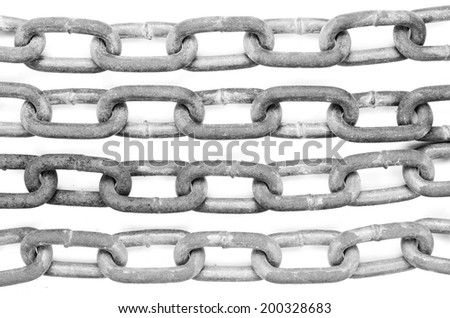 Four steel chains Isolated on a White Background. - stock photo