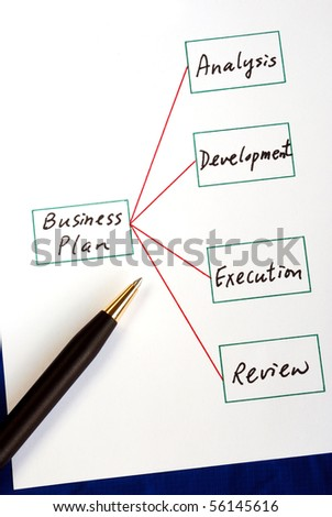 Four steps in executing a business plan isolated on blue - stock photo