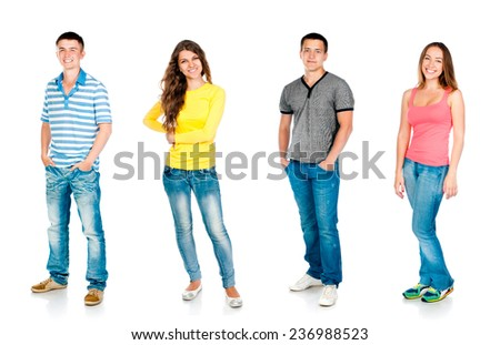 four students are isolated on a white background - stock photo