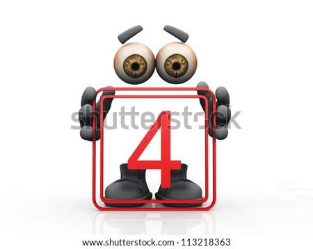 four symbol on a white background - stock photo