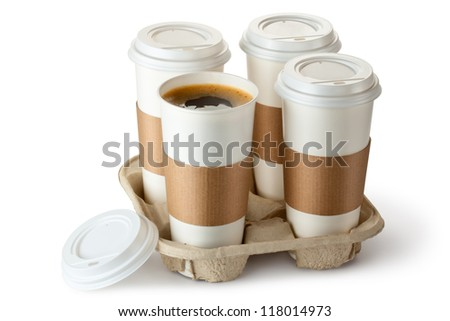 Four take-out coffee in holder. One cup is opened. Isolated on a white. - stock photo