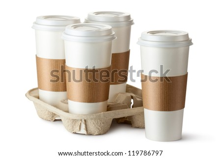 Four take-out coffee. Three cups in holder. Isolated on a white. - stock photo