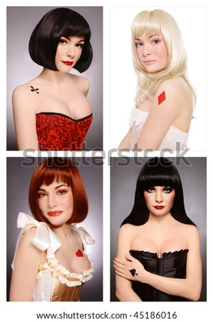 Four various looks of the same beautiful girl with make-up and body-art styled as playing card queens - stock photo