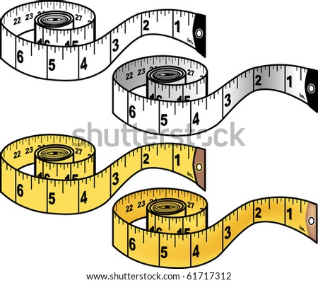 Four versions of a measuring tape illustration: one color and one black and white  Tape features both standard and metric units. - stock photo