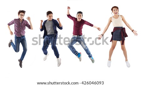 Four Vietnamese young people isolated on white - stock photo