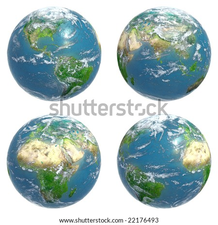 Four views of the Earth - stock photo