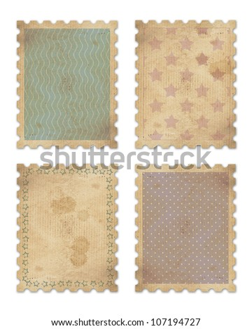 four vintage stamps with clipping path - stock photo