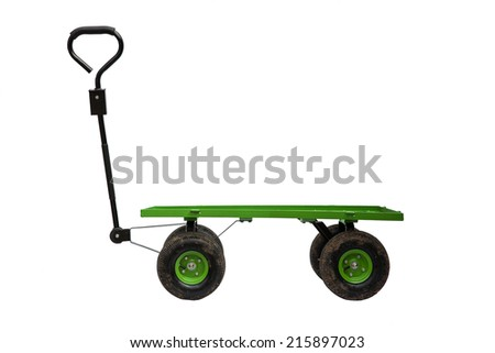 Four wheel trolley and handle isolated on white background - stock photo