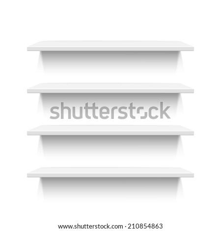Four white realistic shelves isolated on white background - stock photo