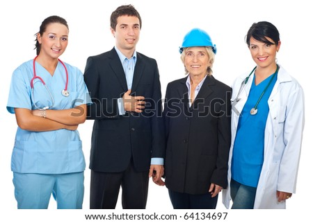 Four workers with different careers standing in a row and smiling isolated on white background - stock photo