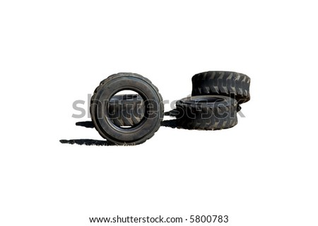 Four worn out tires isolated on white - stock photo