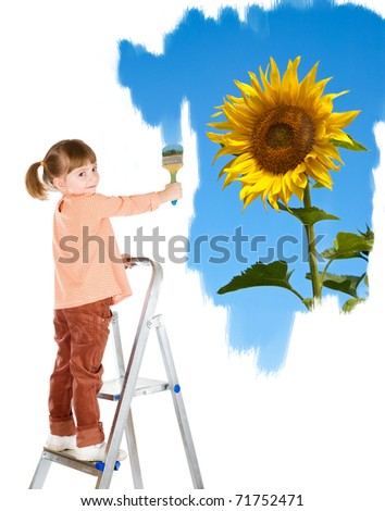 four-year girl on a ladder and draws a picture. It is isolated on a white background - stock photo