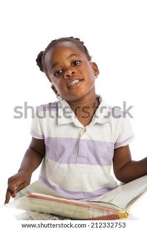 Four Years Old African American Girl Reading Book Isolated on White background - stock photo