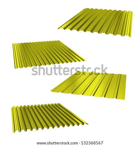four yellow sheets of stainless steel on a white - stock photo