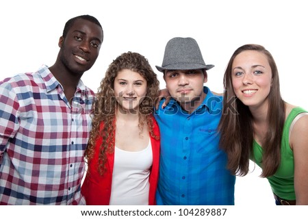 Four young people with different races isolated over white. - stock photo