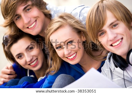 Four Young Teenagers - stock photo