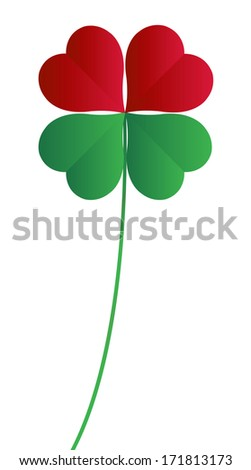 fourleaf clover on a white background - stock photo