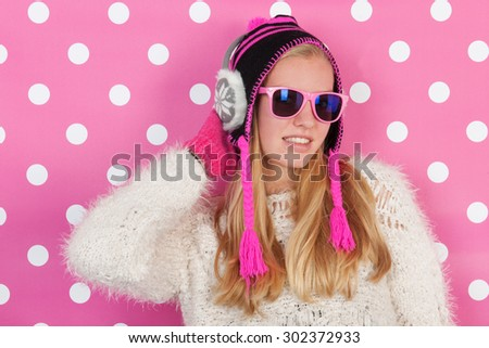 Fourteen years old teen girl in winter time - stock photo