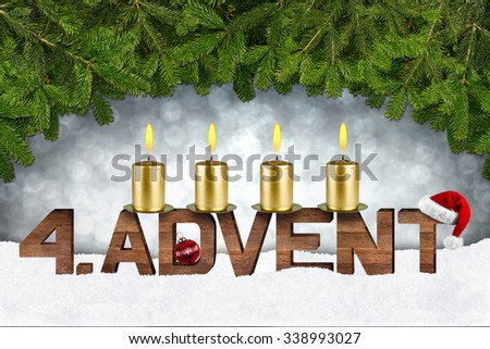 fourth advent concept with candles and fir branches - stock photo