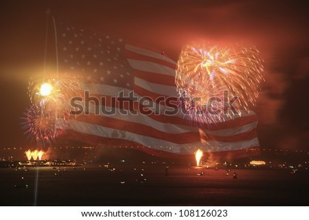 Fourth July fire works SF. With an american flag in the Background - stock photo