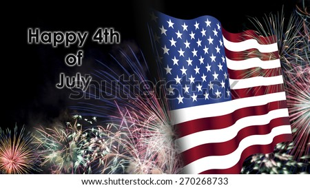 Fourth of July, Background, Fireworks, USA themed composites - stock photo