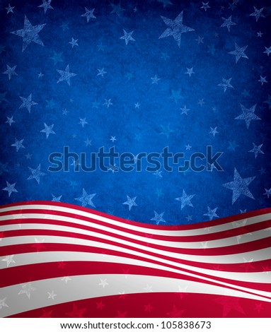 Fourth of July Background with stars and stripes celebration theme with a grunge texture as a symbol of American patriotism and culture in an election voting year. - stock photo