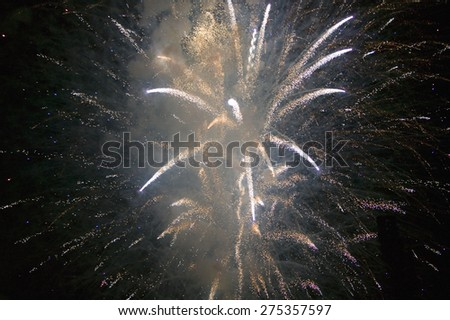 Fourth of July celebration with fireworks exploding, Independence Day, Ojai, California - stock photo