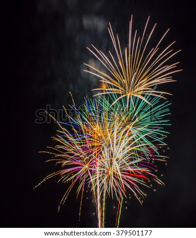 Fourth of July Fireworks over Tempe Town Lake. Tempe, Arizona.  - stock photo