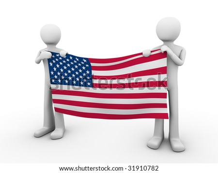 Fourth of July: holding US flag - stock photo