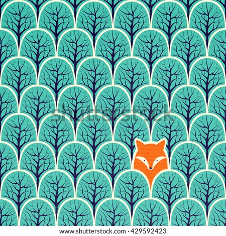 Fox in a forest seamless pattern. Design background. - stock photo