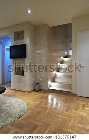 Foyer in luxury apartment with staircase - stock photo