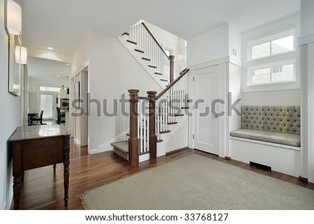 Foyer in luxury home - stock photo