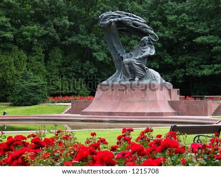 Frédéric Chopin Monument in Warsaw, Poland. Situated in the Lazienki park complex. Unveiled in 1926, destroyed during WWII, reconstructed in 1958. - stock photo