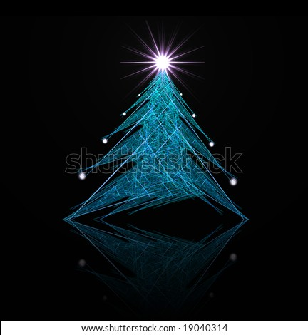Fractal abstract - christmas tree (with star and decorations) - stock photo