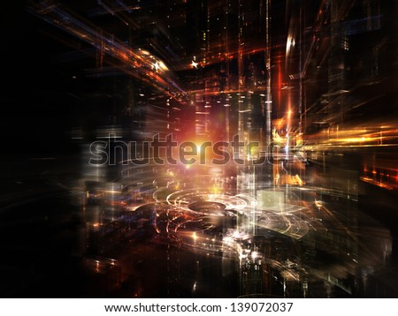 Fractal City series. Arrangement of three dimensional fractal structures and lights on the subject of technology, communications, education and science - stock photo